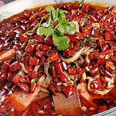 Chongqing Style Spicy Pot (Duck Blood, Beef Tripe & Pork Tero Tero)