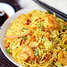 Singaporean Noodles with BBQ Pork and Shrimp
