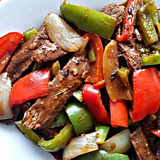 Beef with Black Bean Sauce with rice