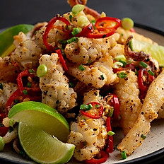 Crispy Calamari with Salt and Pepper with rice