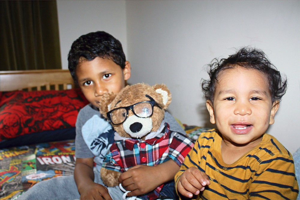 children with bear