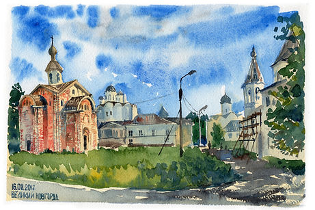 Церковь Параскевы Пятницы на Торгу, г. Великий Новгород, акварель, этюд, пленэр