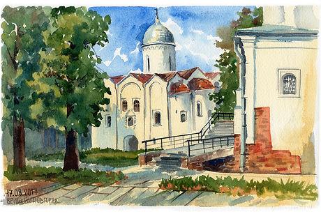 Церковь Иоанна Предтечи на Опоках, г. Великий Новгород, акварель, этюд, пленэр