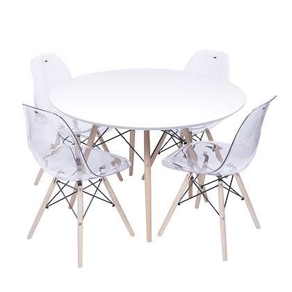 Conjunto Mesa Branca com Cadeiras Transparentes