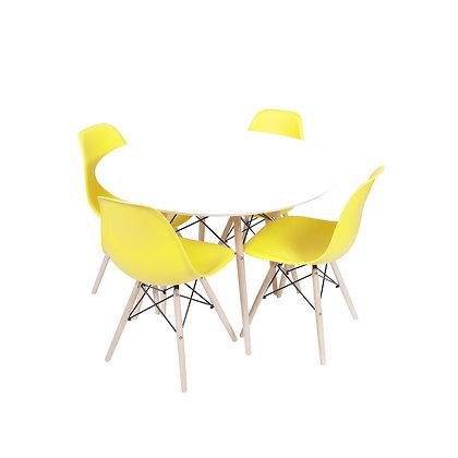 Conjunto Mesa Branca com Cadeiras Amarelas