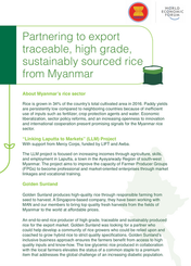 Partnering to export traceable, high grade, sustainably sourced rice from Myanmar