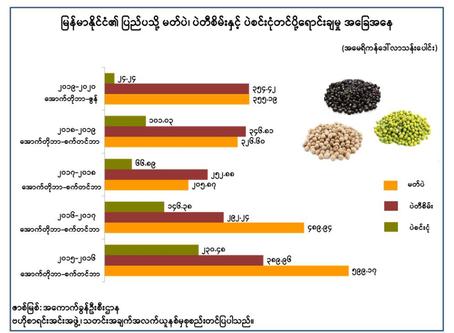 မြန်မာနိုင်ငံ၏ ပြည်ပသို့ မတ်ပဲ၊ ပဲတီစိမ်းနှင့် ပဲစင်းငုံ တင်ပို့ရောင်းချမှု အခြေအနေ
