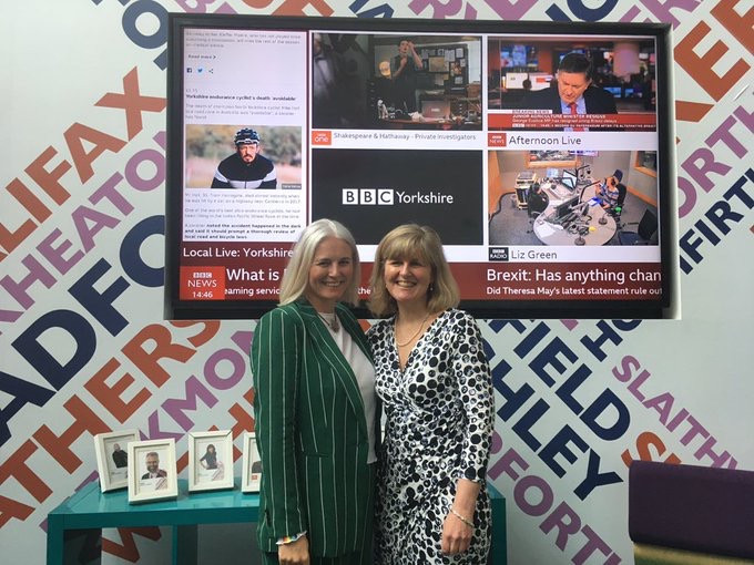 Looking releived after our BBC Radio Leeds interview Liz Green