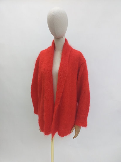 80s Handknitted Red Mohair Cardigan