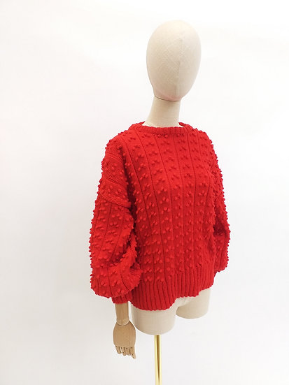 Textured Knit Sweater with Voluminous Sleeves