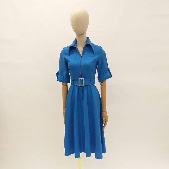1970s Cerulean Blue Dress with Dagger Collar by Wallis