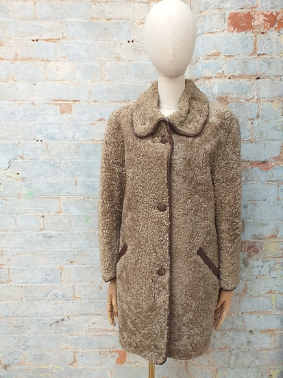 60s Sheepskin Coat with Rounded Collar & Leather Trim
