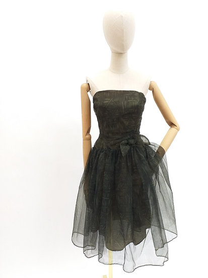 50's Cocktail Dress with Tulle Overlay