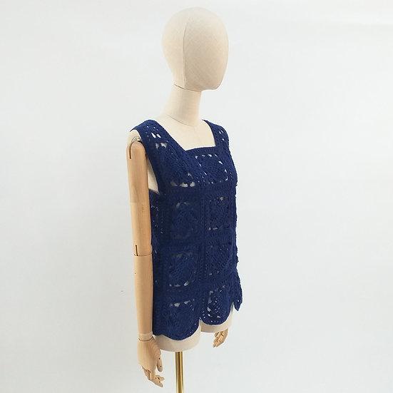 Vintage Crochet Tunic with Scalloped Hem