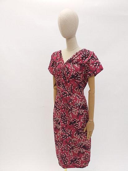 Silk Dress with Cherry Blossom Print