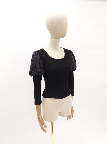 Vintage 70s Skinny Rib with Lurex Puff Shoulders