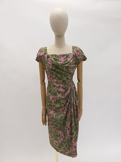 Silk Dress with Square Neckline and Draped Waist