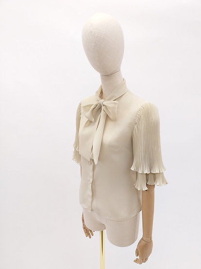 70s Pussy Bow Blouse with Pleated Sleeves by Janet Colton