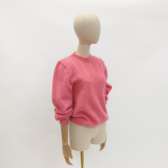 Handknitted Pink Fluffy Jumper