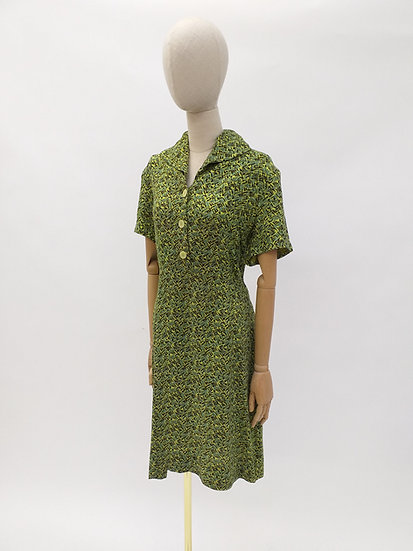 40s 50s Abstract Print Vintage Dress