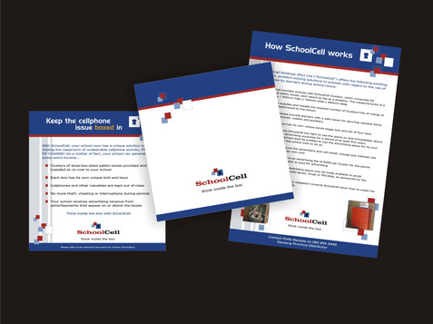 Shoolcell logo and information card design
