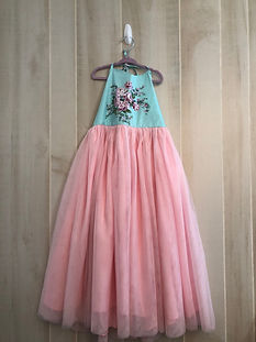 pink tulle dress with blue floral size 8
