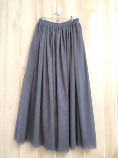 slate grey knee_tea length skirt womens