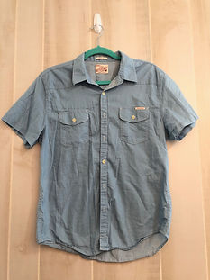 blue mens button up size medium