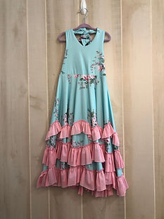 girls blue floral dress size 3_4