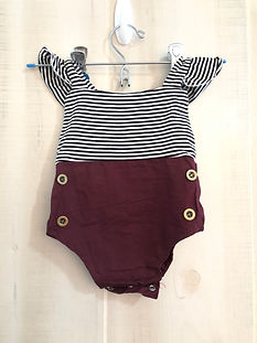 burgundy, white and black romper girls 6