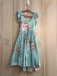 Blue floral dress girls size 5_6