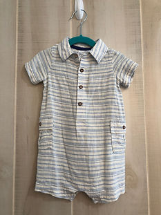 white and blue striped outfit boys 6-12