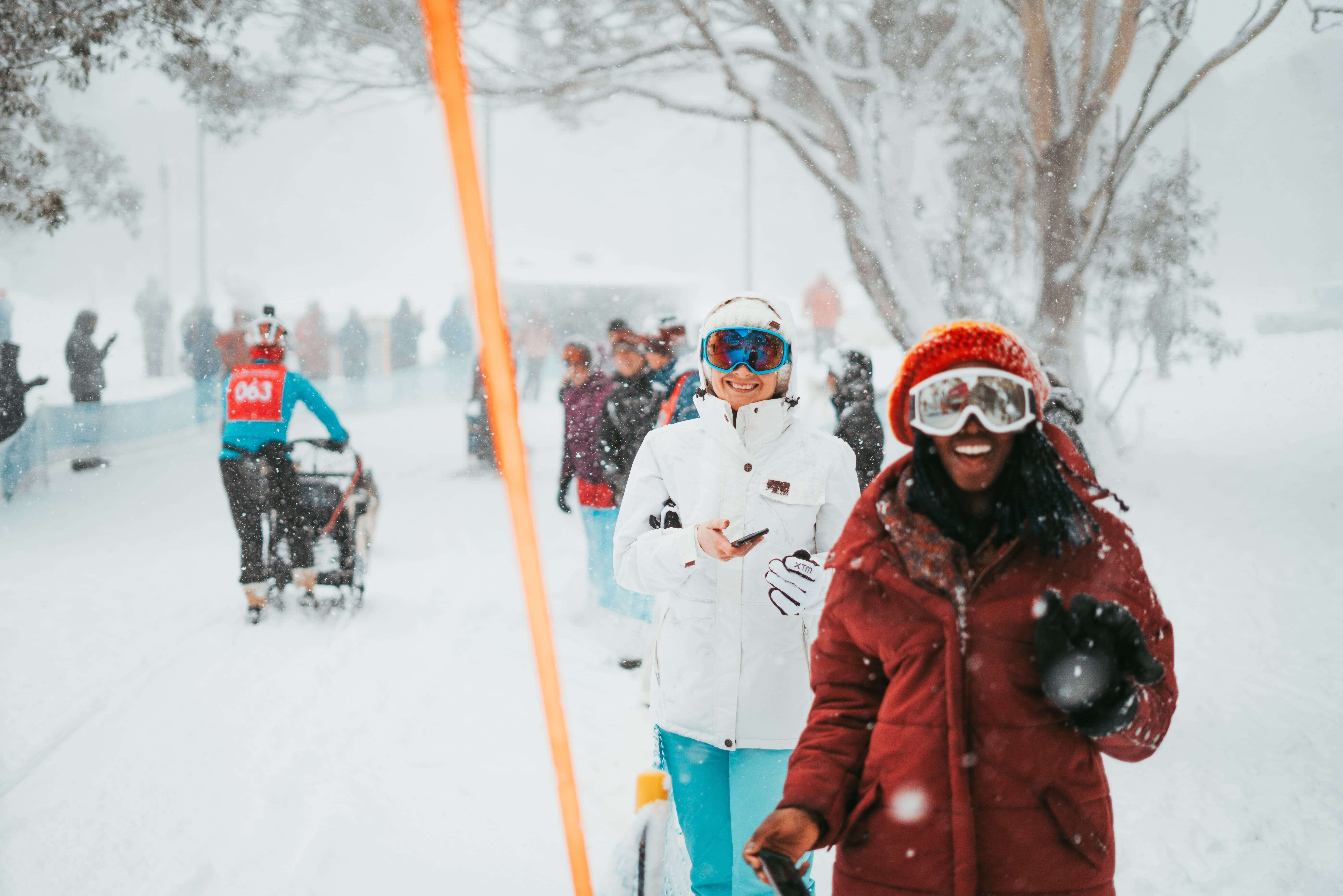 Tourists laughing at Mt  Buller