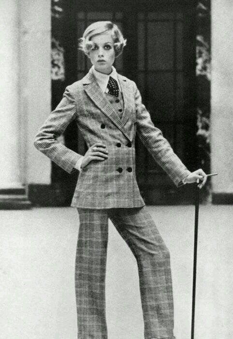 60's Style Icon Twiggy rocking the pantsuit.