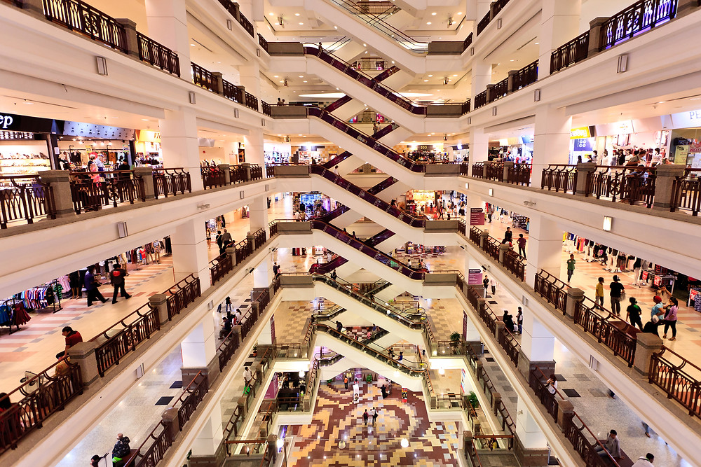 Image of interior of a large multi-storey shopping mall