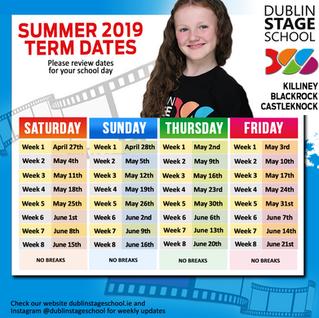 SUMMER 2019 Term Dates!