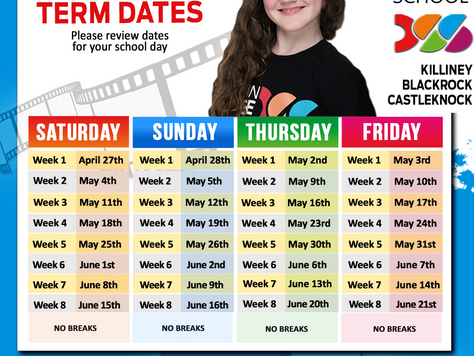 SUMMER 2019 Term Dates!