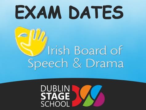 IRISH BOARD OF SPEECH AND DRAMA EXAMS DATES
