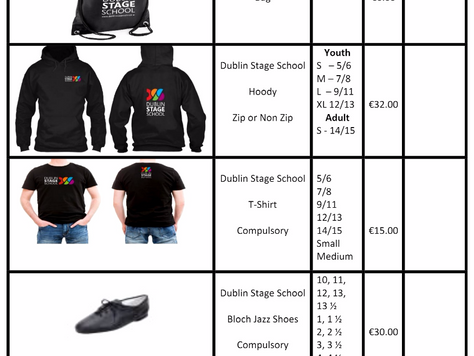 Dublin Stage School Uniform