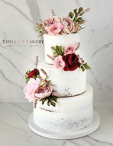 Semi Naked  Flowers Wedding Cake