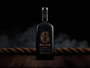 Croxsons' stunning black bottle for 6 O'Clock Gin