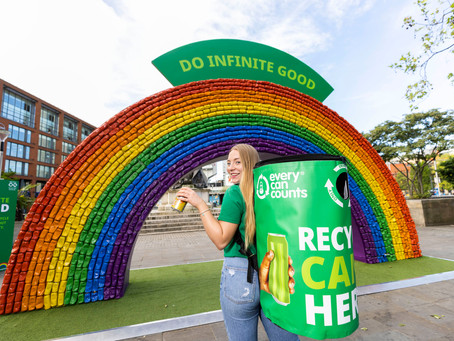 Every Can Counts takes recycled rainbow art installation to Manchester