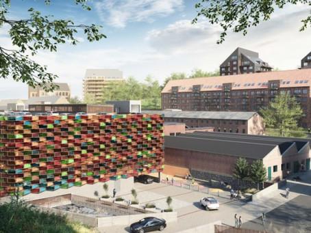 Colourful solar cell façade taking shape in Mölnlycke Fabriker