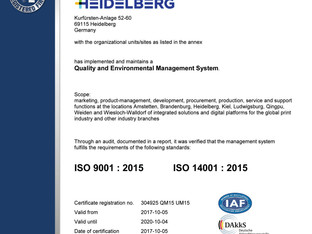 Heidelberg recertified for quality and the environment