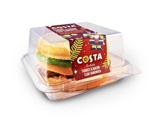 Kingsmoor Packaging produce rPET container for Costa's festive club sandwich