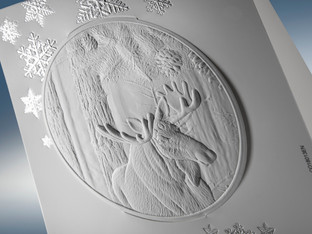 Master of embossing created this year's greeting card