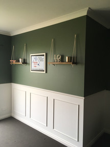 Panel walls and made custom shelves