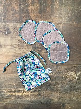 4 cotons lavables | Gris clair bords fleuris