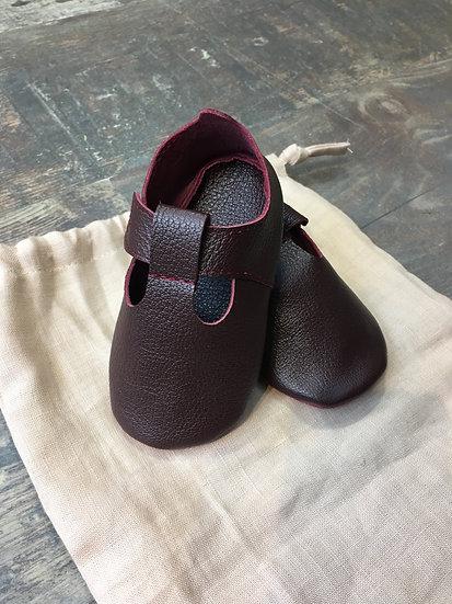 Chaussons d'Adam en cuir   Rouge bordeaux