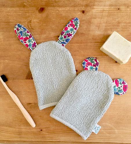 Gant de toilette petit ours ou petit lapin